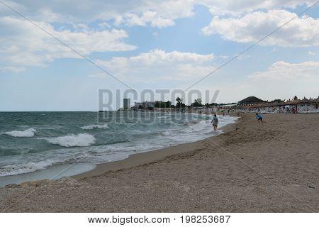 Neptun Romania - July 8 2017: People having fun at the beach resort in Neptun Constanta Romania Europe