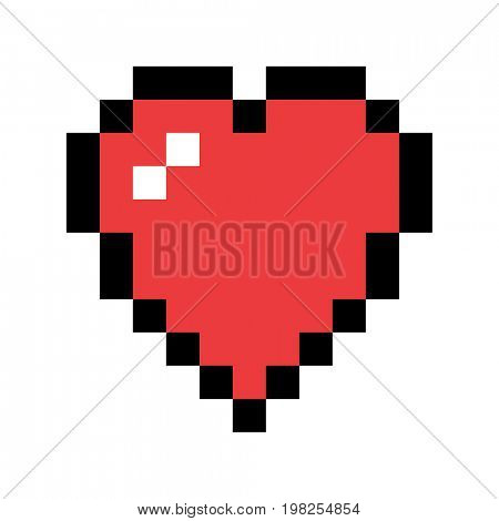 Pixel art red heart. Love and valentine symbol.  raster icon design element.