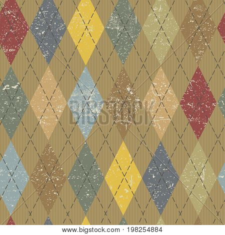 Argyle pattern. Colorful and textured. Grunge vintage background.