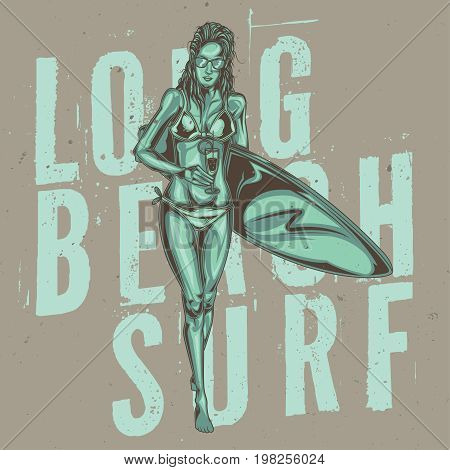 T-shirt or poster design with illustraion of girl with cocktails and surfing board