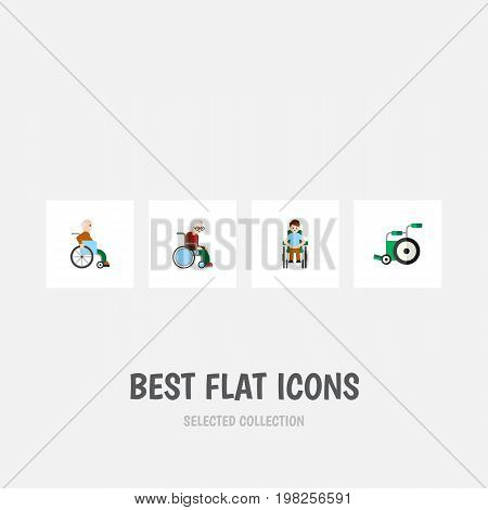 Flat Icon Disabled Set Of Disabled Person, Equipment, Wheelchair And Other Vector Objects