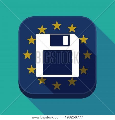Long Shadow Eu Square Button With A Floppy Disk