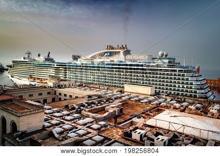 Majestic Princess - Princess Cruises - Naples, Italy - 12 May 2017: Majestic Princess ship docked in Naples cruise port.