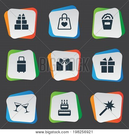 Elements Spell, Cocktail, Present And Other Synonyms Bucket, Luggage And Candle.  Vector Illustration Set Of Simple Festal Icons.