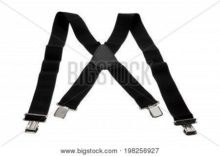 Black Trouser Braces on Isolated White Background
