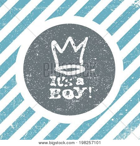 It's a boy lettering. Baby shower party design element.  raster greeting card.