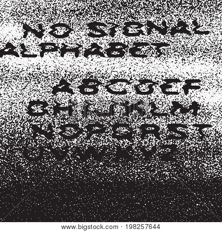 No signal alphabet. No signal background. Error concept. Isolated to white. Distress Overlay Texture