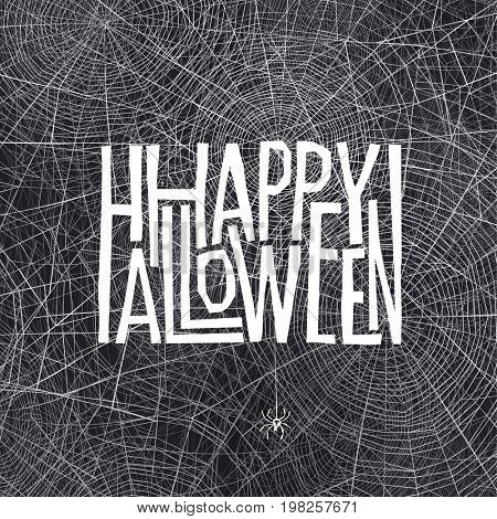 Halloween holiday card design. Spider on cobweb.