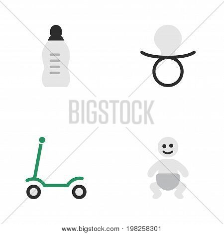 Elements Nipple, Kick, Vial And Other Synonyms Children, Baby And Bottle.  Vector Illustration Set Of Simple Child Icons.