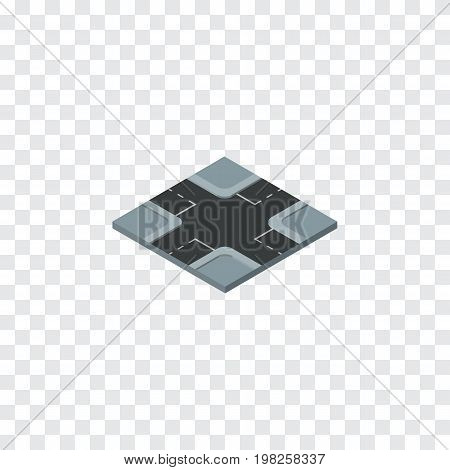 Intersection Vector Element Can Be Used For Crossroad, Intersection, Road Design Concept.  Isolated Crossroad Isometric.