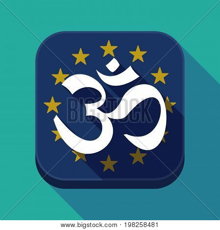 Long Shadow Eu Square Button With An Om Sign