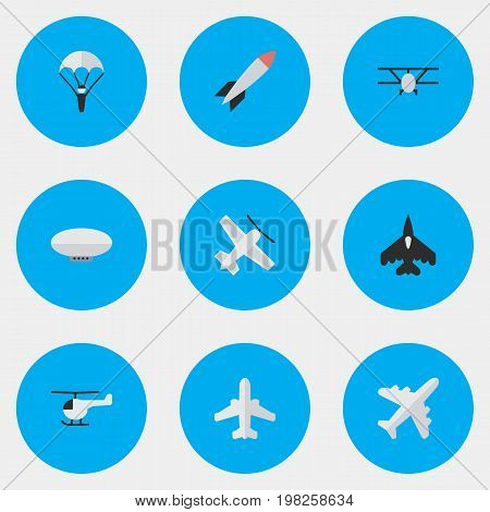 Elements Craft, Bomb, Flying Vehicle And Other Synonyms Aircraft, Chopper And Rocket.  Vector Illustration Set Of Simple Plane Icons.