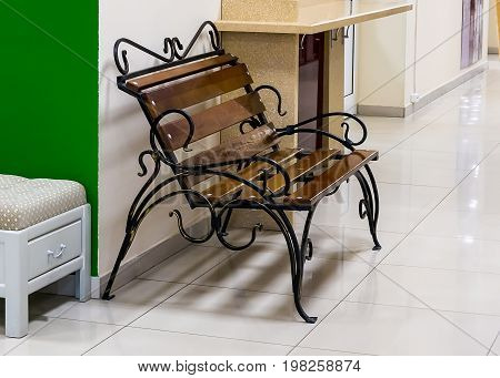 a Bench forged metal and wooden slats