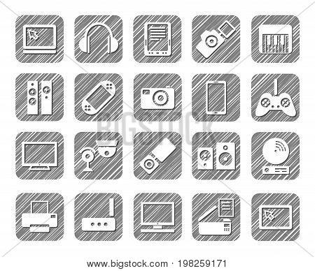 Video electronics, audio electronics, icons, grey, shading, vector. Pictures of gadgets, games consoles and audio equipment. Hatch grey pencil simulation.