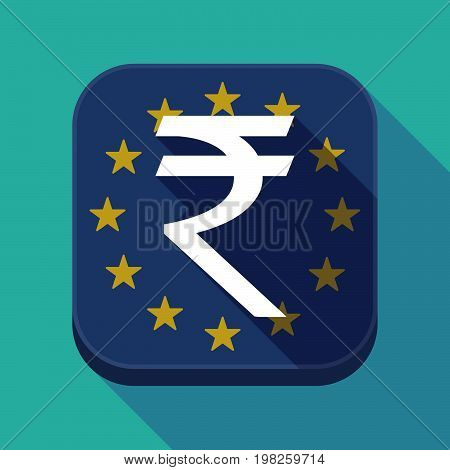 Long Shadow Eu Square Button With A Rupee Sign