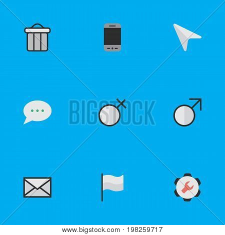 Elements Trashcan, Mobile Phone, Message Bubble And Other Synonyms Man, Flag And Female.  Vector Illustration Set Of Simple Interface Icons.