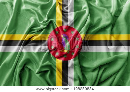 Ruffled waving Dominica flag national flag close