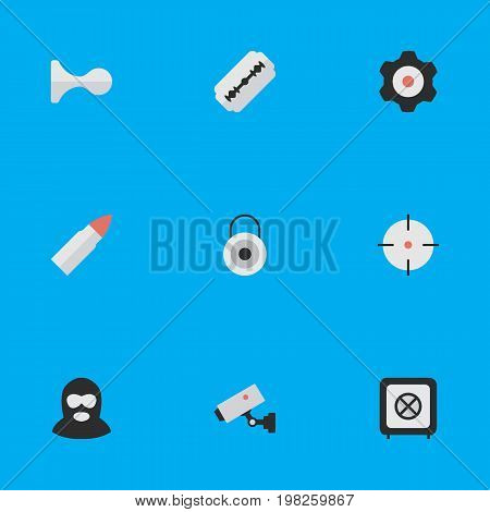 Elements Cogwheel, Target, Blade And Other Synonyms Lock, Supervision And Burglar.  Vector Illustration Set Of Simple Offense Icons.