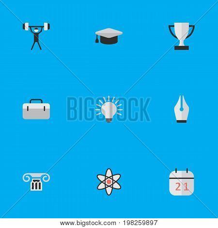 Elements Column, Academic Hat, Molecule And Other Synonyms Bodybuilding, University And Suitcase.  Vector Illustration Set Of Simple Education Icons.