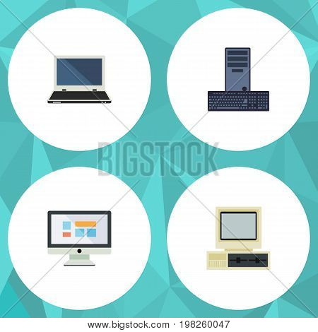 Flat Icon Computer Set Of Processor, Display, Notebook And Other Vector Objects