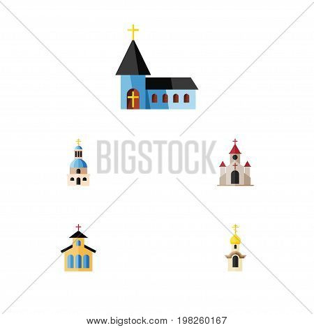 Flat Icon Church Set Of Christian, Traditional, Catholic And Other Vector Objects