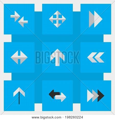 Elements Onward, Widen, Back And Other Synonyms Next, Ahead And Rearward.  Vector Illustration Set Of Simple Pointer Icons.
