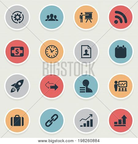 Elements Reverse Directions, Suitcase, Event And Other Synonyms Statistics, Event And Link.  Vector Illustration Set Of Simple Business Icons.