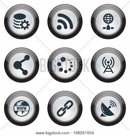 Elements Network Sharing, Sputnik Signal, Internet And Other Synonyms Hyperlink, Wireless And Signal.  Vector Illustration Set Of Simple Browser Icons.