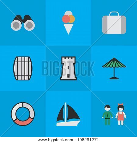 Elements Sorbet, Optical Zoom, Schooner And Other Synonyms Container, Barrel And Love.  Vector Illustration Set Of Simple Holiday Icons.