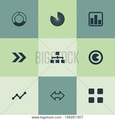 Elements Hierarchy, Reverse Arrows, Lecture And Other Synonyms Relation, Process And Piece.  Vector Illustration Set Of Simple Chart Icons.
