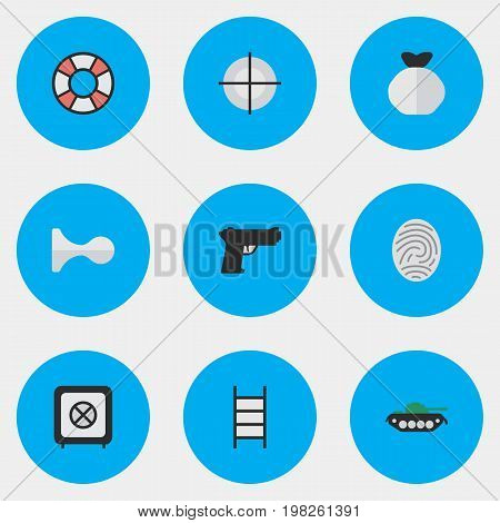 Elements Bioskyner, Lifesaver, Hunting And Other Synonyms Ladder, Protection And Lifebuoy.  Vector Illustration Set Of Simple Criminal Icons.