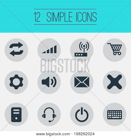 Elements Headphone, System Unit, Cogwheel And Other Synonyms Cart, Router And Unit.  Vector Illustration Set Of Simple Device Icons.