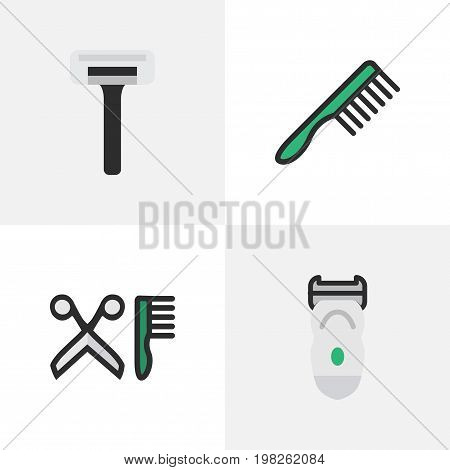 Elements Electronic, Hairbrush, Comb And Other Synonyms Razor, Blade And Slavering.  Vector Illustration Set Of Simple Hairdresser Icons.