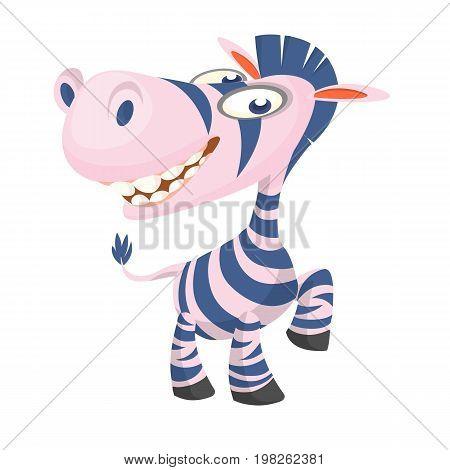 Cute Cartoon Zebra. Vector illuctration of zebra icon