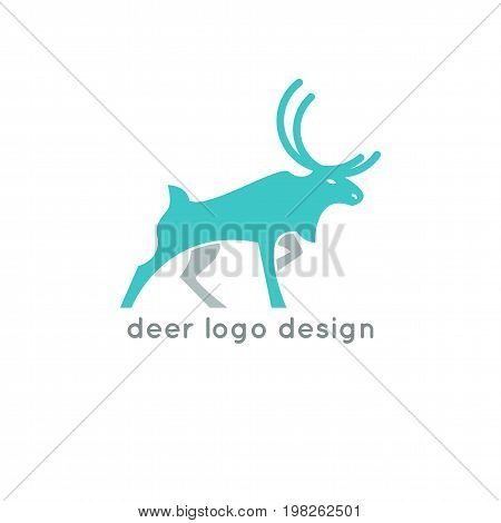 Deer logo design template. Elk silhouette concept icon. Stock vector
