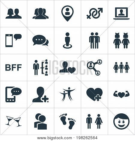Elements Fellows, Talk, Love And Other Synonyms Male, Happy And Dance.  Vector Illustration Set Of Simple Buddies Icons.