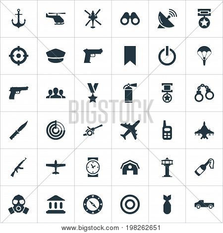 Elements Sky Force, Signal Receiver, Ship Hook And Other Synonyms Aviation, Spyglass And Switch.  Vector Illustration Set Of Simple Military Icons.