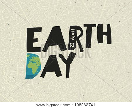 Earth Day,  22 April. Design template with free space for text or image. Leaf veins texture on the toned recycled paper texture.