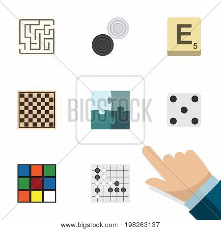 Flat Icon Games Set Of Labyrinth, Chequer, Mahjong And Other Vector Objects