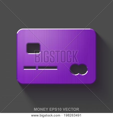 Flat metallic currency 3D icon. Purple Glossy Metal Credit Card icon with transparent shadow on Gray background. EPS 10, vector illustration.