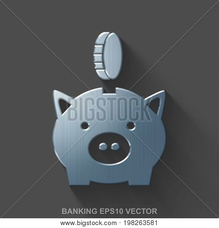 Flat metallic banking 3D icon. Polished Steel Money Box With Coin icon with transparent shadow on Gray background. EPS 10, vector illustration.