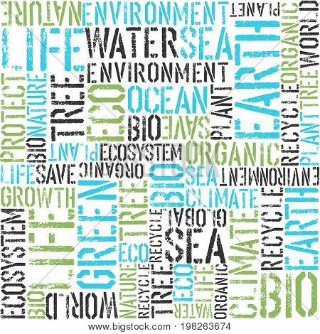 Earth day themed seamless background. Green and blue colors. Pattern composed from words Earth, Sea, Eco, Organic, Plant, etc...