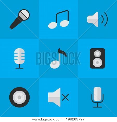 Elements Record, Loudspeaker, Note And Other Synonyms Music, Control And Record.  Vector Illustration Set Of Simple Melody Icons.