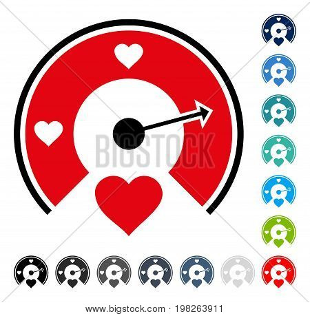 Love Gauge icon. Vector illustration style is a flat iconic symbol in some color versions.