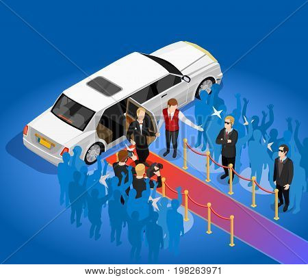 Music award night ceremony celebrity arriving scene with limousin red carpet and paparazzi isometric poster vector illustration