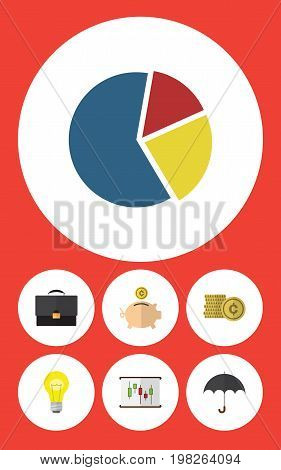 Flat Icon Gain Set Of Graph, Money Box, Portfolio And Other Vector Objects