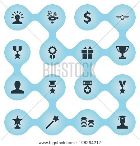 Elements Money, Award, Miracle And Other Synonyms Wings, Present And Triumphant.  Vector Illustration Set Of Simple Prize Icons.
