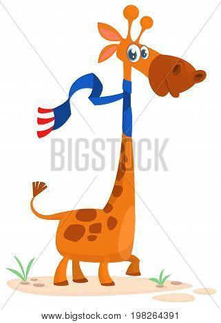 Cartoon cute giraffe. Vector illustration isolated on white