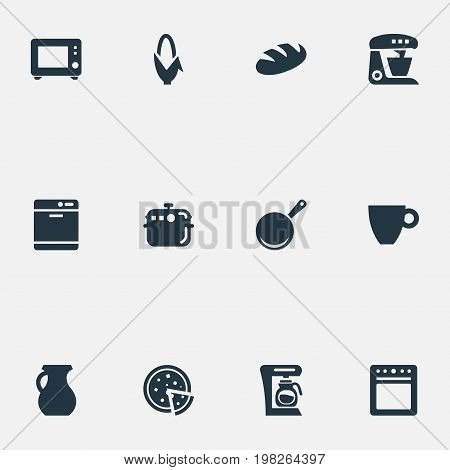 Elements Kitchen Tool, Skillet, Stove And Other Synonyms Pot, Corn And Dishwashing.  Vector Illustration Set Of Simple Kitchen Icons.