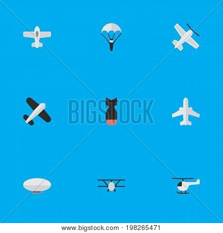 Elements Aviation, Craft, Copter And Other Synonyms Parachute, Flying And Helicopter.  Vector Illustration Set Of Simple Aircraft Icons.